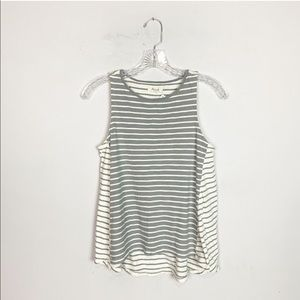 Madewell grey and white striped hi low tank top XS